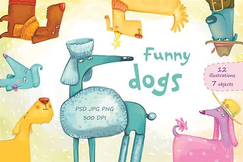 Funny Dogs - clip art