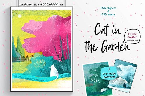 Cat in the garden - poster creator