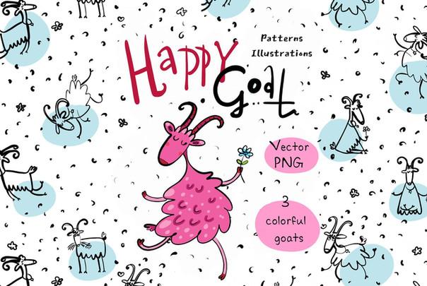 Happy Goat - patterns, illustrations
