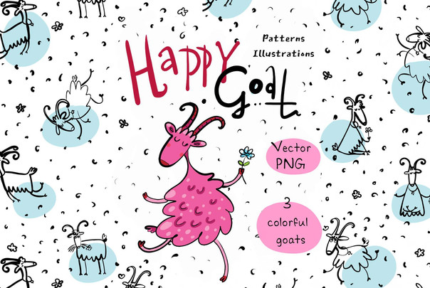 Happy Goat - patterns, illustrations