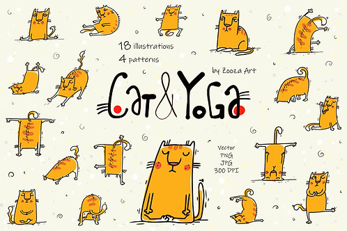 Cat and Yoga - vector illustrations