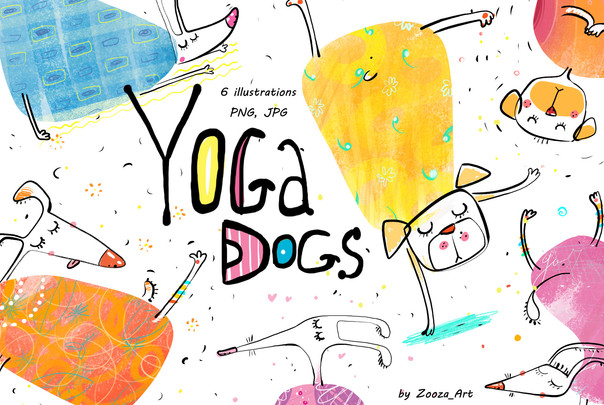 Yoga Dogs - illustrations