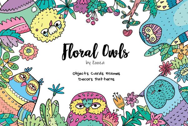 Floral Owls