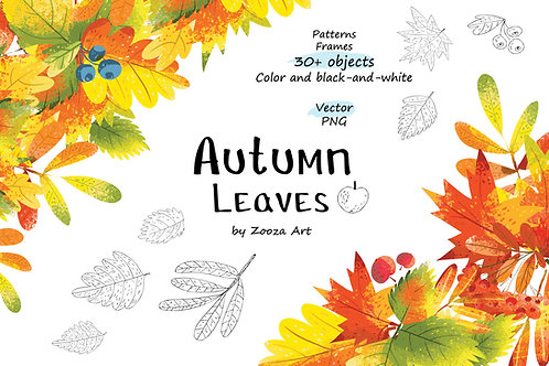 Autumn Leaves - over 30 objects, frames, patterns