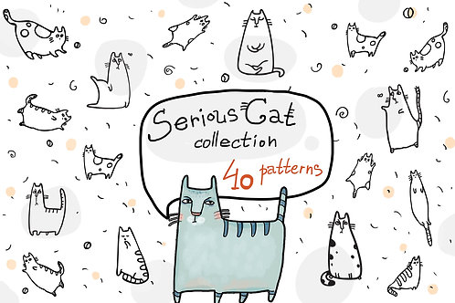 Serious Cat collection - 40 patterns