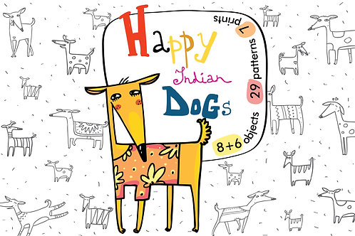 Happy Indian Dogs patterns, prints