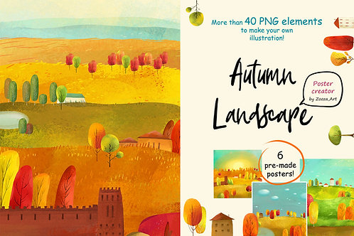 Autumn landscape - poster maker