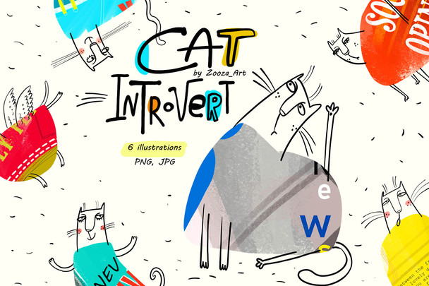 Cat introvert 6 cards
