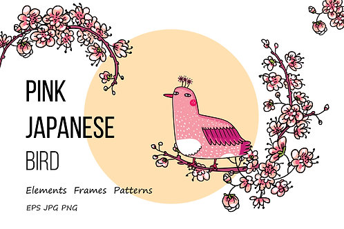 Pink Japanese Bird - Floral set