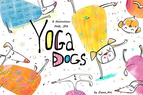 Yoga Dogs - 6 illustrations