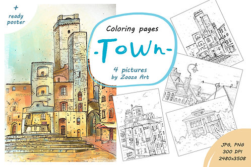 """Coloring pages """"Town"""" - 4 pictures"""