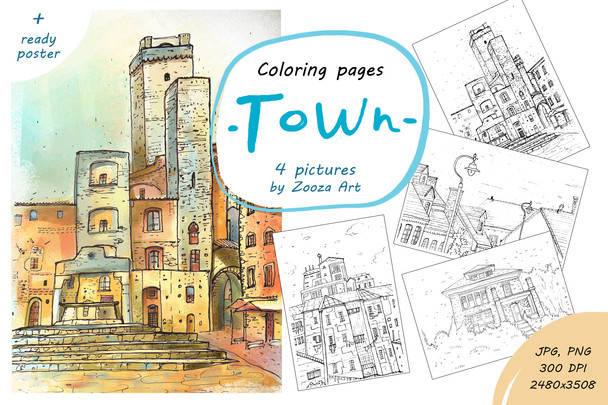Town - coloring pages