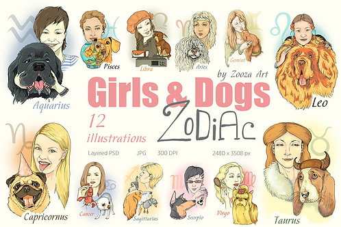 Zodiac illustrations with Dogs and Girls