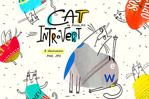 Cat Introvert - 6 illustrations