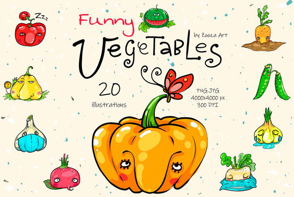 Funny vegetables clip-art illustrations