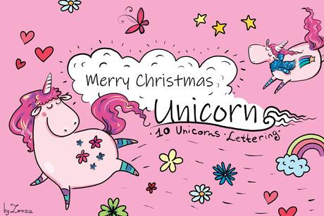 Merry Christmas Unicorn - clip-art