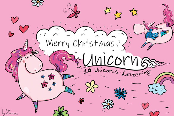 Merry Christmas Unicorn - clip-art