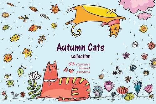 Autumn Cats - clip-art collection, patterns, frames