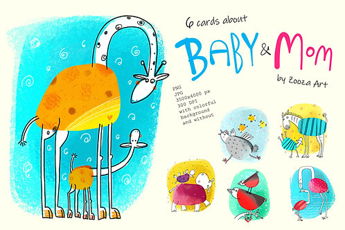 6 illustrations about Baby and Mom