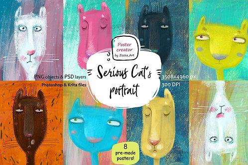 Serious Cat's portrait - poster maker