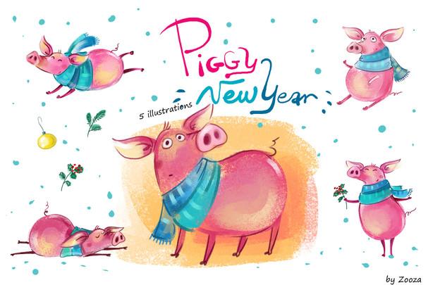 Piggy New Year - illustrations