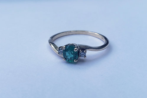 Emerald & Diamond Accented Gold Ring