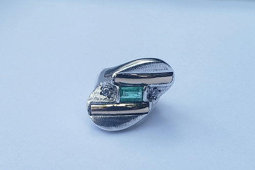 10 kt Gold & 925 Sterling Silver Emerald Ring
