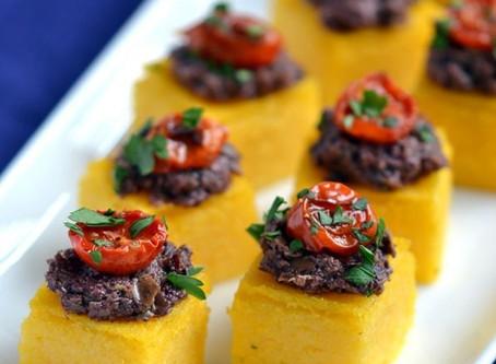 Mushroom Tapenade On Polenta  Squares | Snack