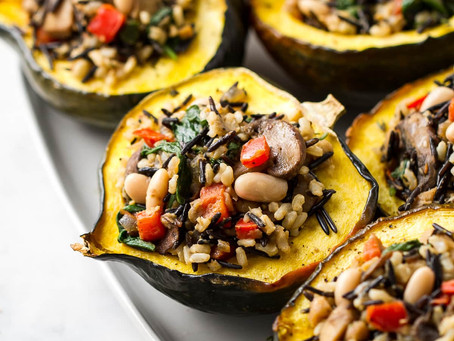 Stuffed Acorn Squash With Wild Rice,Mushrooms & Cranberries | Lunch