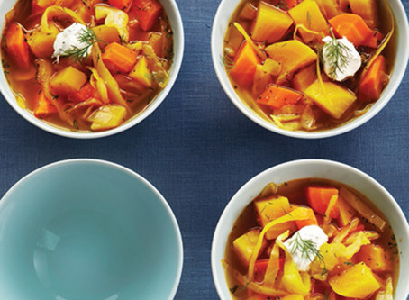 Cabbage and Yellow Beet Borscht | Lunch