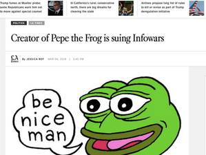 LA Times reports on my illustration in the middle of this Pepe/Infowars feud