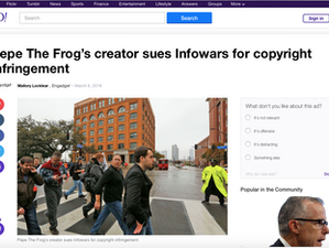 Yahoo covered the Pepe/Infowars controversy