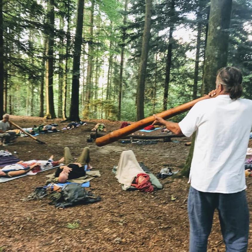 Outdoor Breathwork im Wald mit Didgeridoo und Naturklängen