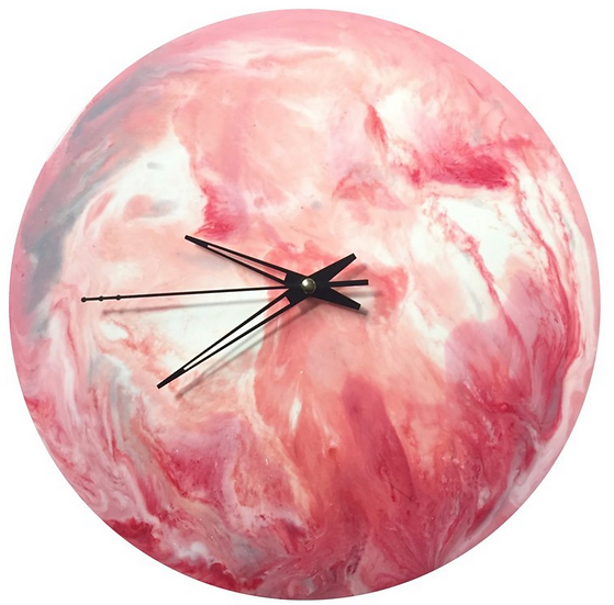 Pink・Planet・Hand made wall clock / wall hanging