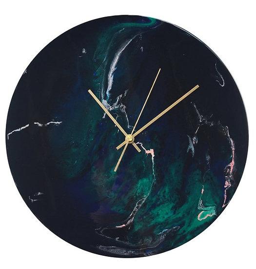 Northern Lights, Moon, Handmade Wall Clock