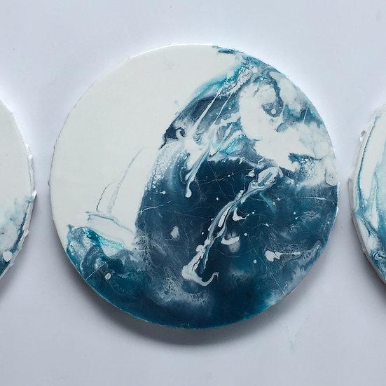 (Set) Indigo & White Landscape Painting, Moon Body, Hand-Wall Decoration
