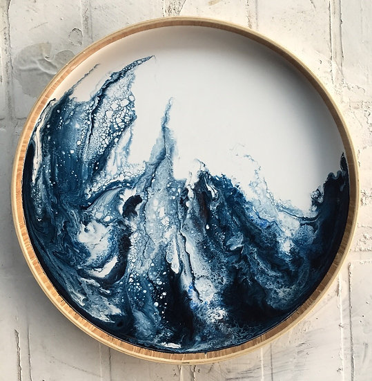 Flow Blue Moon · handmade wooden tray