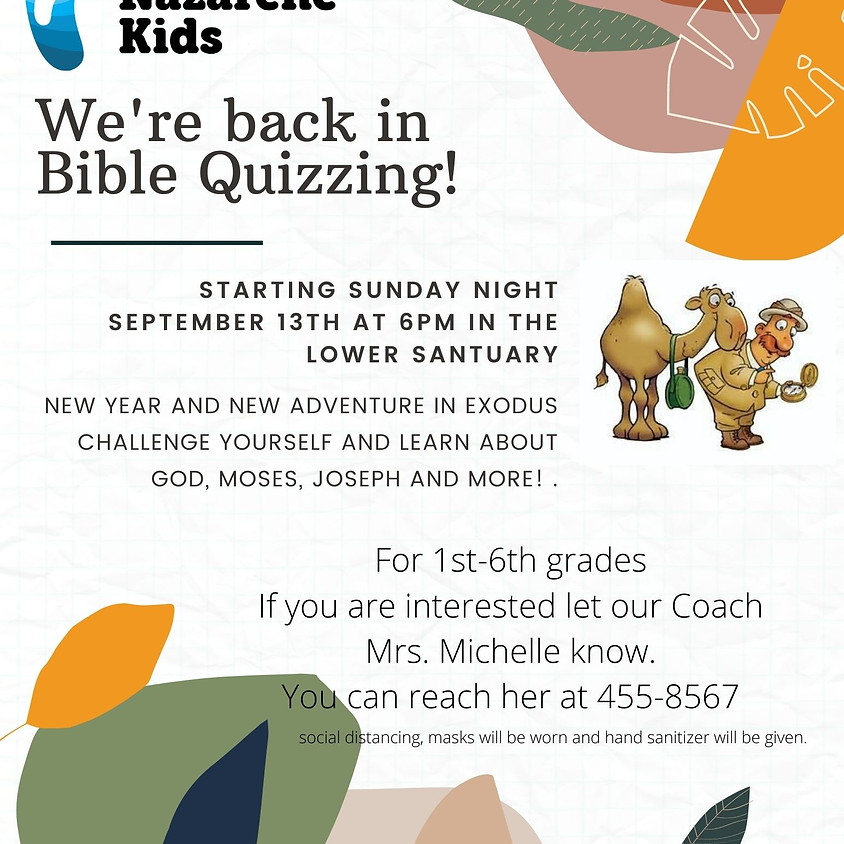 Bible Quizzing Sunday 6:00PM