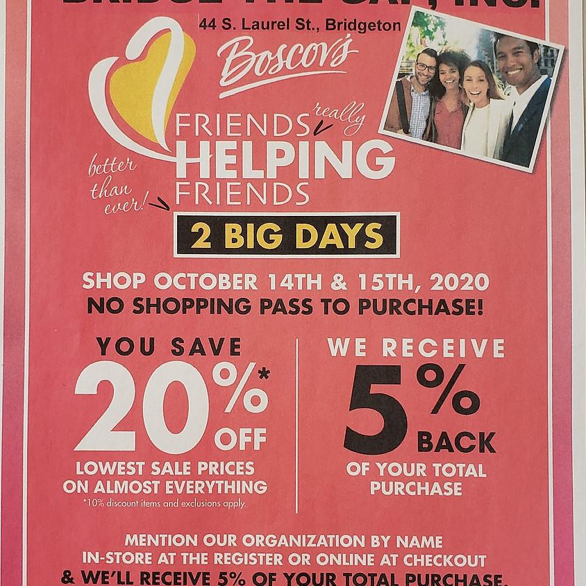 """Bridge The Gap"" Fundraiser! Shop at Boscov's- you save, ""BTG"" earns."