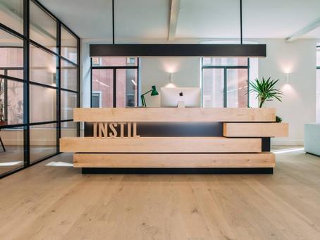 Striking Black HI-MACS® helps create a cool workspace in a Belfast office