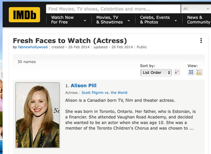 IMDB Fresh Faces to Watch