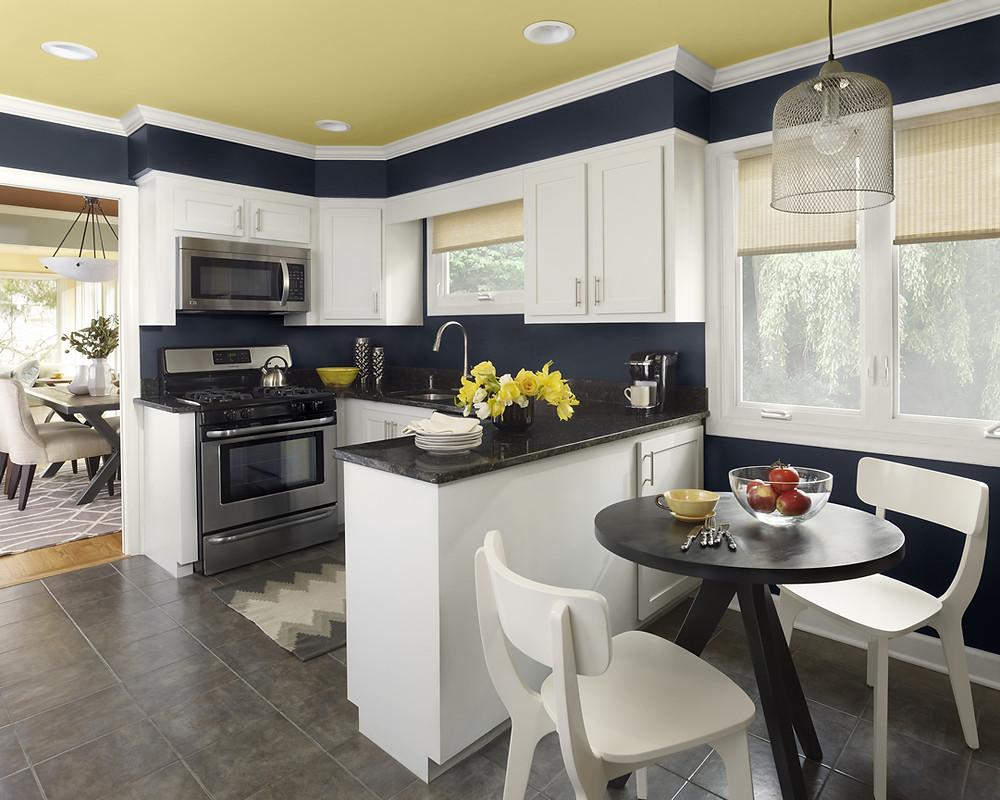 kitchen with rich dark walls