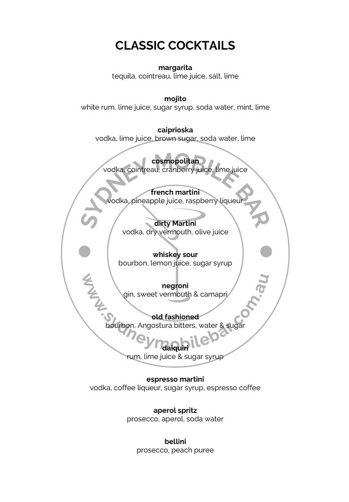 Classic cocktail menu
