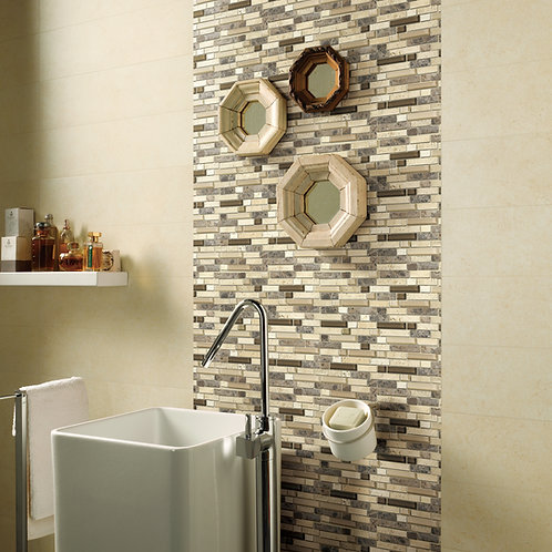 GLASS & STONE MOSAIC  (basketweave and linear line)