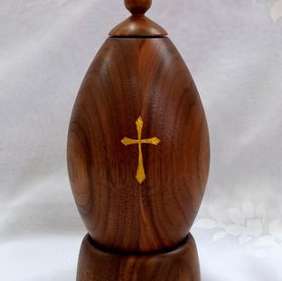 a Walnut Christian tabletop prayer wheel