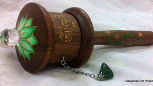 medium Greent Tara Walnut prayer wheel