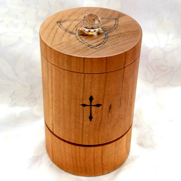 a Cherry tabletop Christian prayer wheel