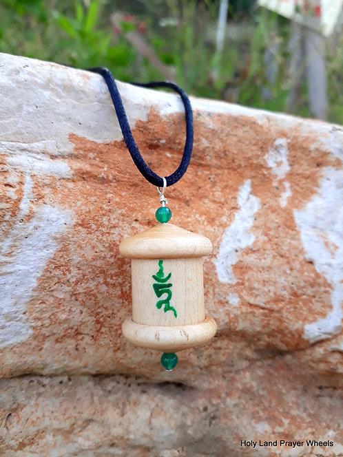 Green Tara prayer wheel pendant MP#1