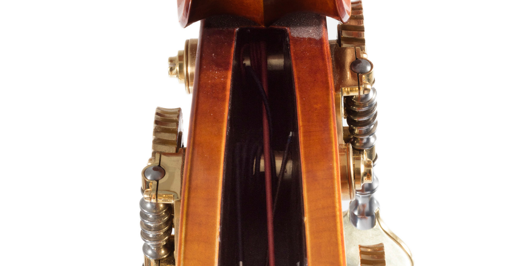 Front shot of W Mackay bass scroll.