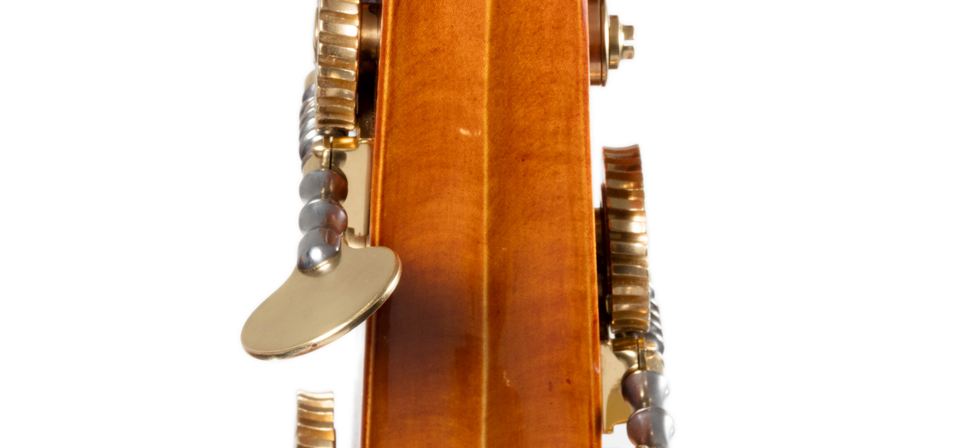 Rear shot of W Mackay bass scroll.